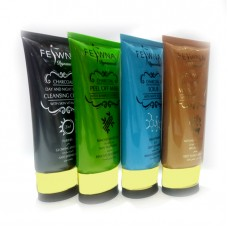Feiwna Whitening Charcoal Facial Pack Cleanser, Mask, Scrub And Massage Cream 4 Tubes